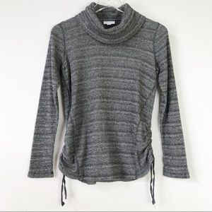 J. Jill Long Sleeve Side Ruching Cowl Neck Striped Marled Knit Pullover Top XS
